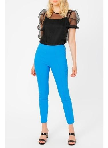 Random Fermuar Detaylı Skınny Pantolon Mavi